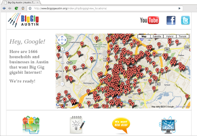 screenshot: BigGigAustin.org broadband interest map page