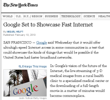 screenshot of New York Times article, 'Google Set to Show Fast Internet'